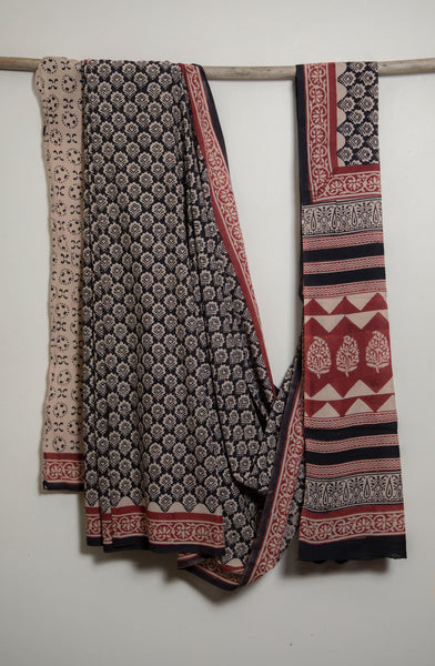 Bagru Hand Block Printed Cotton Voile Saree