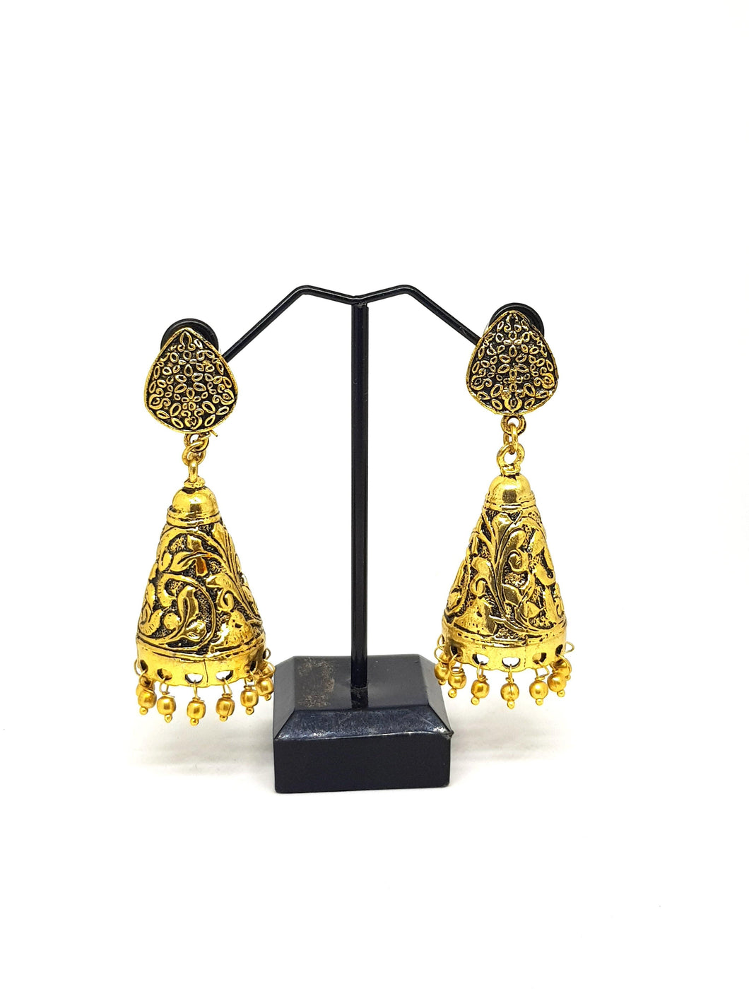 Antique Mehendi Gold Floral Cone Jhumkas