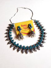 German Silver Peacock Mango Necklace - Sea Blue