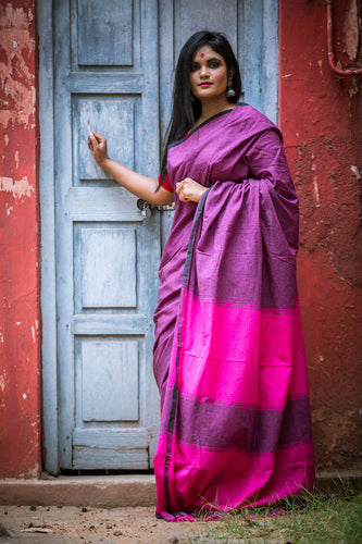 Pure Khadi Cotton Handwoven Saree - Grape & Hot Pink