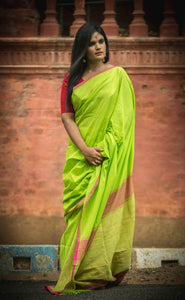 Pure Khadi Cotton Handwoven Saree - Lime Green & Brick Red - Happy Pique