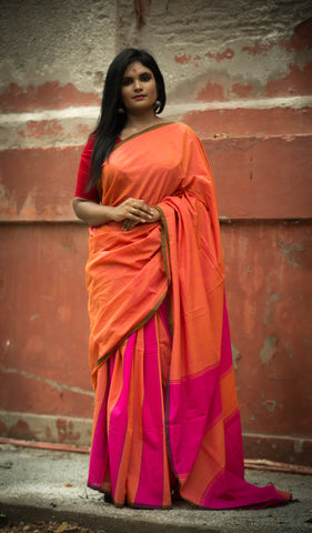 Pure Khadi Cotton Handwoven Saree - Peachy Orange & Pink