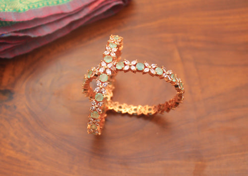 AD Stone Bridal Rose Gold Bangles - Pista - Size: 2.6 - Happy Pique