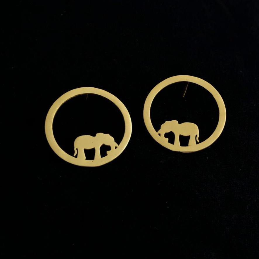 Contemporary Gold Minimal Round Elephant Studs