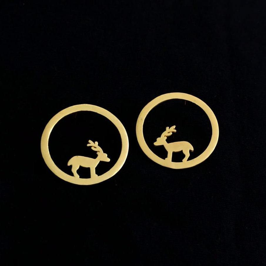 Contemporary Gold Minimal Round Deer Studs - Happy Pique
