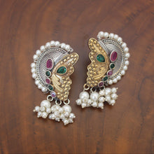 Load image into Gallery viewer, Two Tone CZ Butterfly Earrings