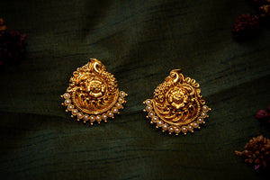 Nagas Traditional Peacock Floral Pearl Studs