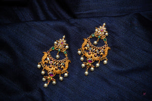 Uncut CZ, Kemp and AD Stones Studded Designer Peacock Temple Earrings