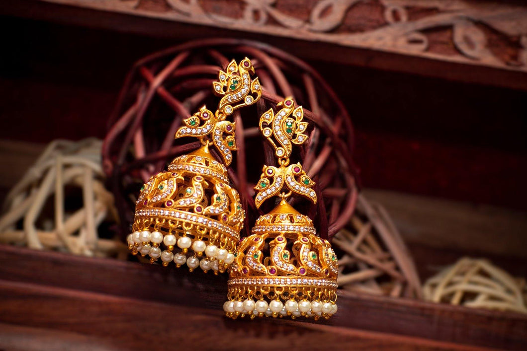 AD Stones Studded Traditional Peacock Jhumkas