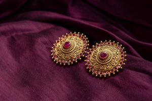 CZ Ruby Stones Studded Traditional Big Studs