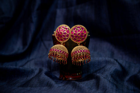 CZ Ruby Stones Studded Antique Gold Big Jhumkas