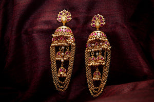 CZ Stones Studded Layer Jhumkas Chain Earrings
