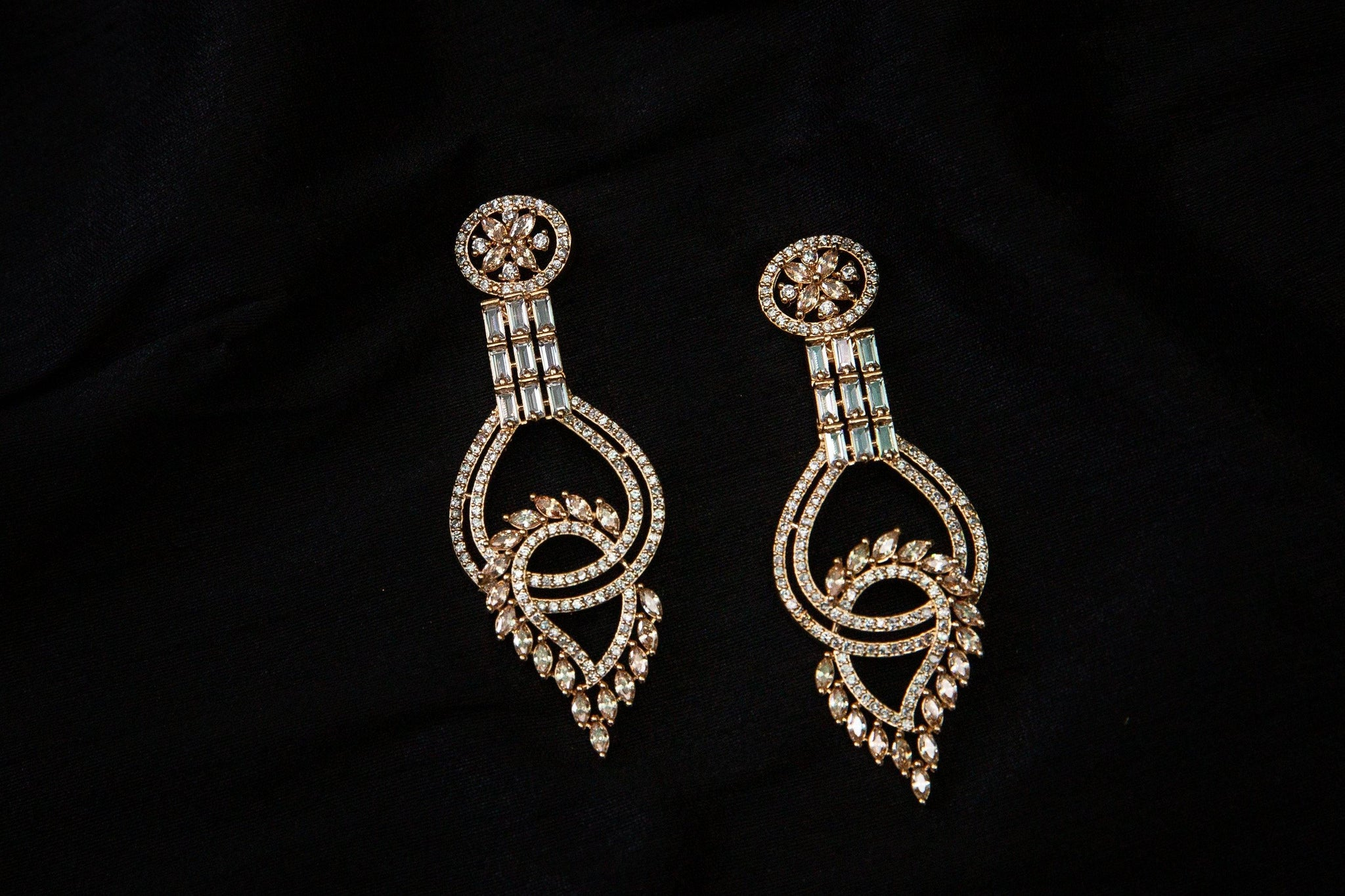 AD & Rhinestones Studded Loop Earrings