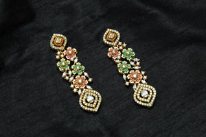 AD Stones Studded Flower Drops Rose Gold Earrings