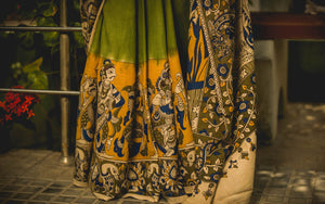 The Temple Moss Kalamkari Cotton Saree