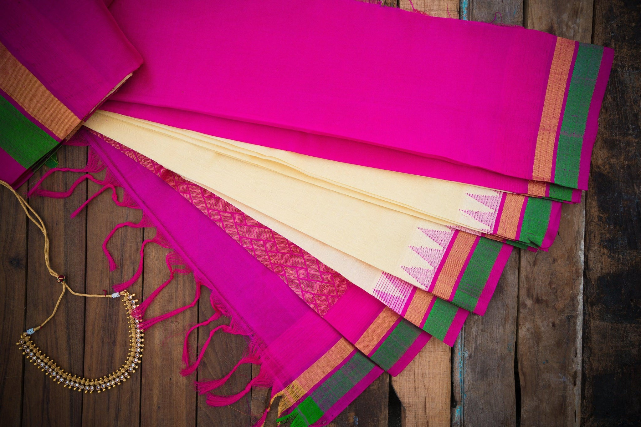 Kuppadam Silk Cotton Saree in Ivory and Purplish Pink with Temple Silk Border Korvai