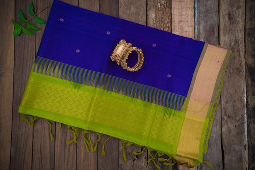 Silk Cotton Saree in Bluish Violet and Green with Zari Butta and Simple border