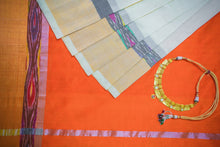 Silk Cotton Saree in Pearly White With Pochampally Border