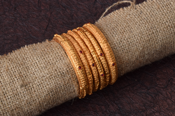 Set of 6 Traditional Gold Look ALike Bangles - Size: 2.6
