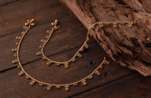 Gold Look Alike Daily Wear Anklets - Polki & CZ Flowers