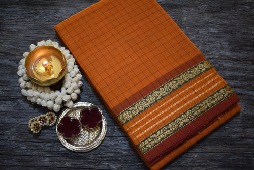 Cotton Chettinad Checks - Orange