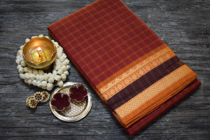 Chettinad Checks Cotton Saree - Red