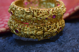 Matte Finish Mahalakshmi Heavy Design Bangles