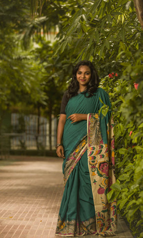 The Turquoish Green Kalamkari Cotton Saree