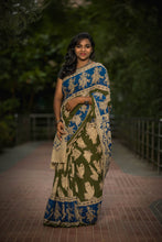 The Dancing Beauty Hastas Kalamkari Cotton Saree