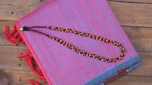 Braided Dhokra Tribal Short Necklace - Black & Maroon