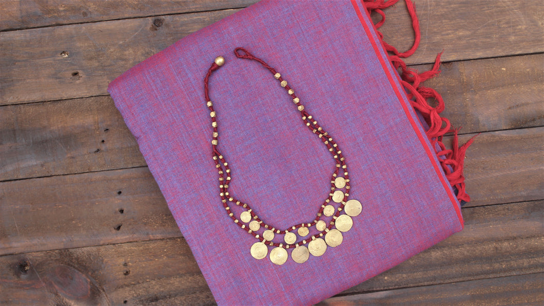 Two Layer Tribal Dhokra Spiral Coins Necklace - Maroon