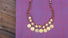 Load image into Gallery viewer, Two Layer Tribal Dhokra Spiral Coins Necklace - Maroon