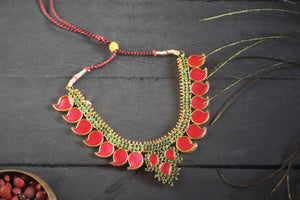 Traditional Kerala Palakka Necklace - Red