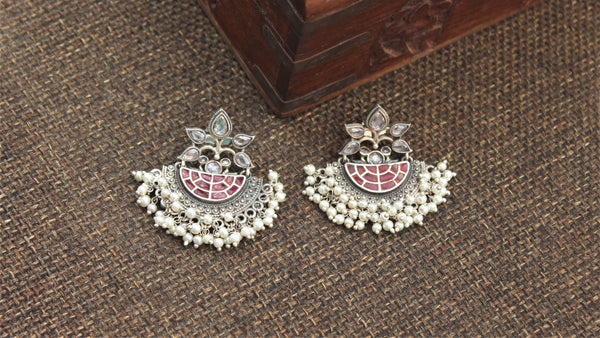Premium Silver Look Alike Designer Baali Earrings - Red & White
