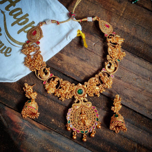 Antique Matte Finish Gold Look Like Parvati Devi Bridal Necklace