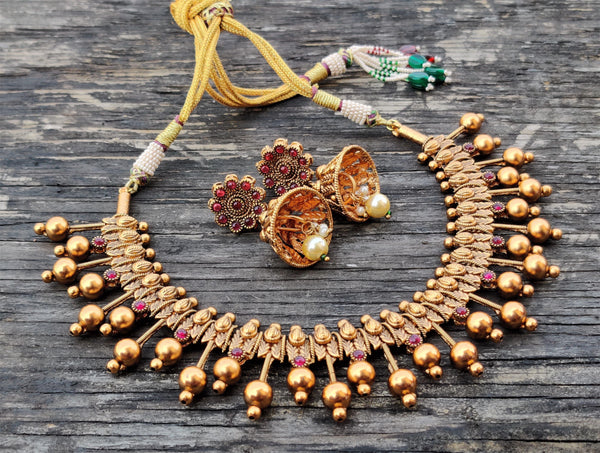 Antique Gold Traditional Spike Balls Necklace