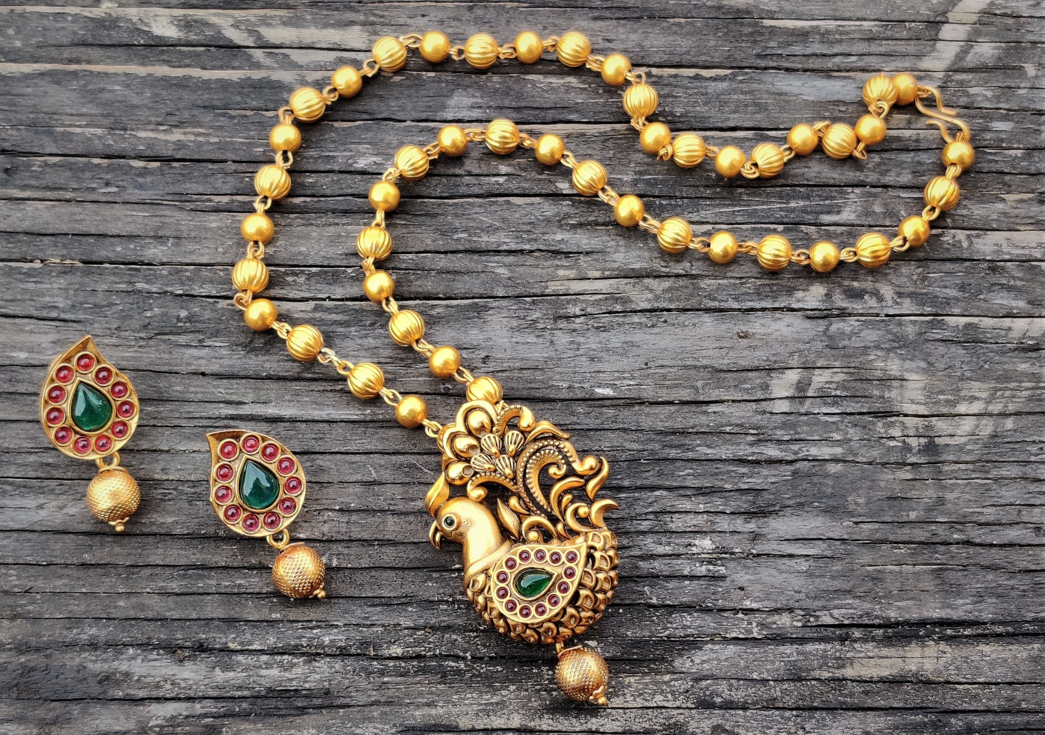 Traditional Annapakshi Pendant Balls Chain Necklace