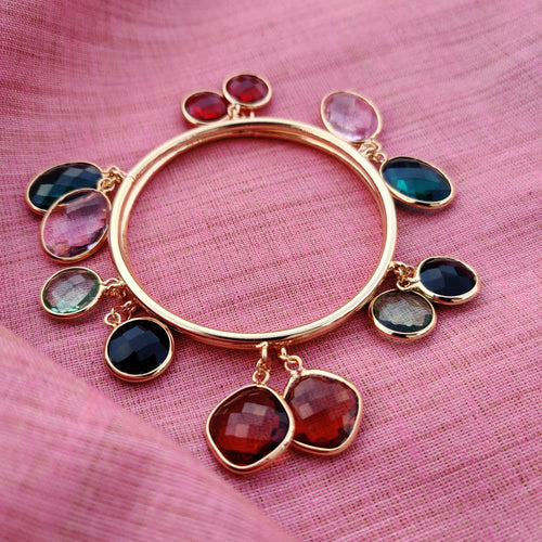 Contemporary 6 Glass Stone Gold Bangles - Happy Pique