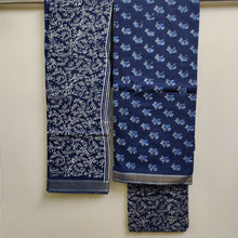 Load image into Gallery viewer, Resham Border Hand Block Printed Unstitched Cotton Suit Fabric - Indigo