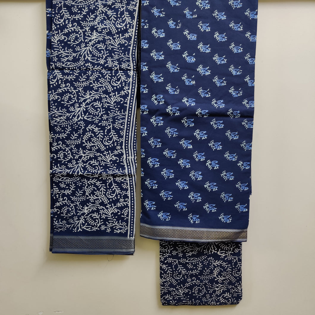 Resham Border Hand Block Printed Unstitched Cotton Suit Fabric - Indigo