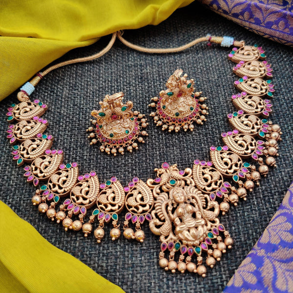 Matte Finish Annapakshi Mahalakshmi Designer Cut Work Necklace
