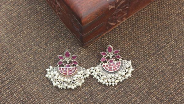 Premium Silver Look Alike Designer Baali Earrings - Rani Red