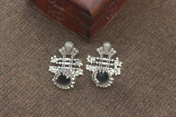 Premium Silver Look Alike Tribal Layer Jhumkas