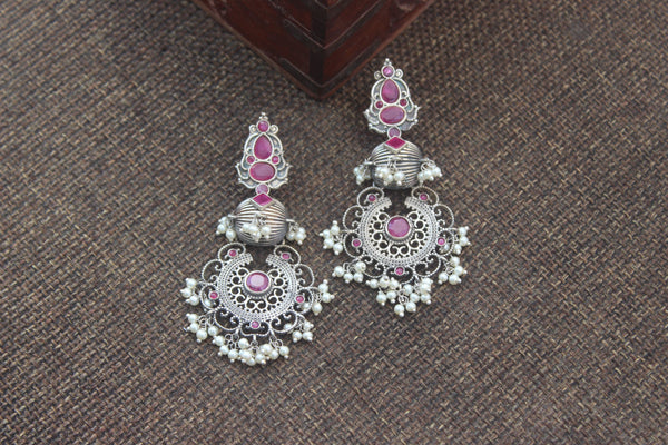 German Silver Long Bullet Bali Earrings - Ruby