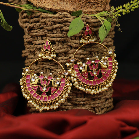 Big Kundans & Pearls Studded Festive Bollywood Style Chaandbali Earrings - Pink