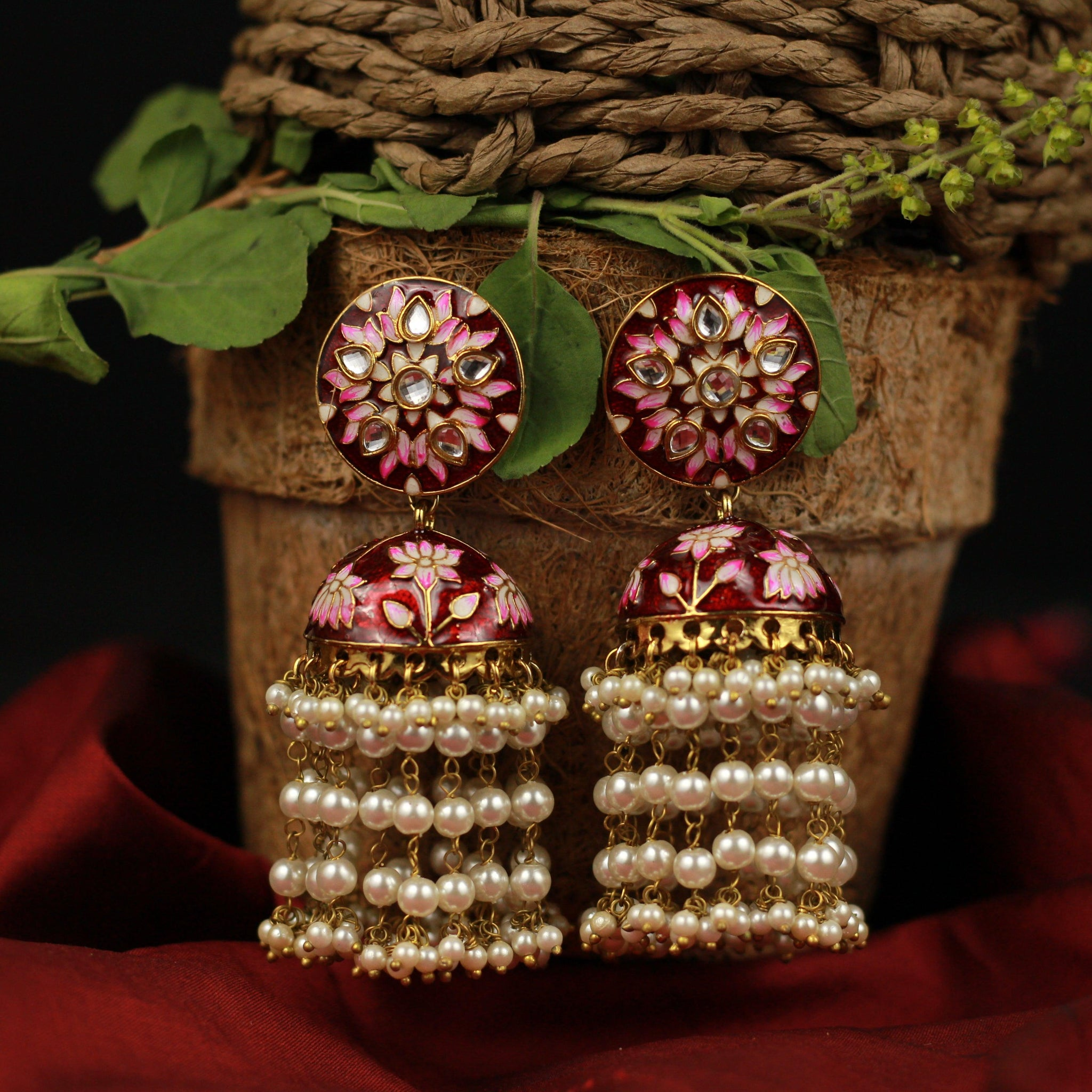 Flower Chakra Pearl Layer Bollywood Festive Jhumkas - Maroon