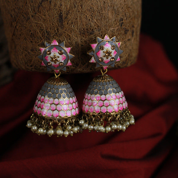 Honey Comb Meenakari Bollywood Festive Jhumkas - Grey & Rose