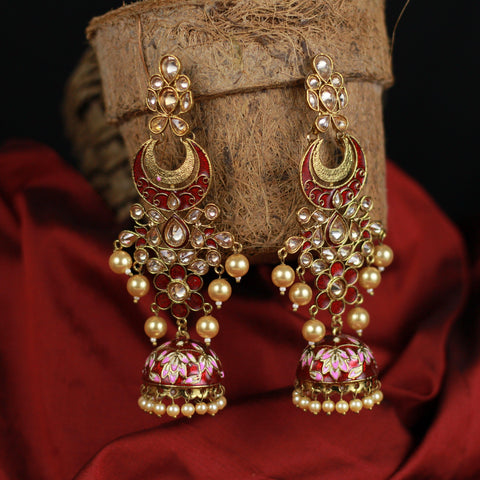 Long CZ Stones Studded Bollywood Chaandini Jhumkas - Red