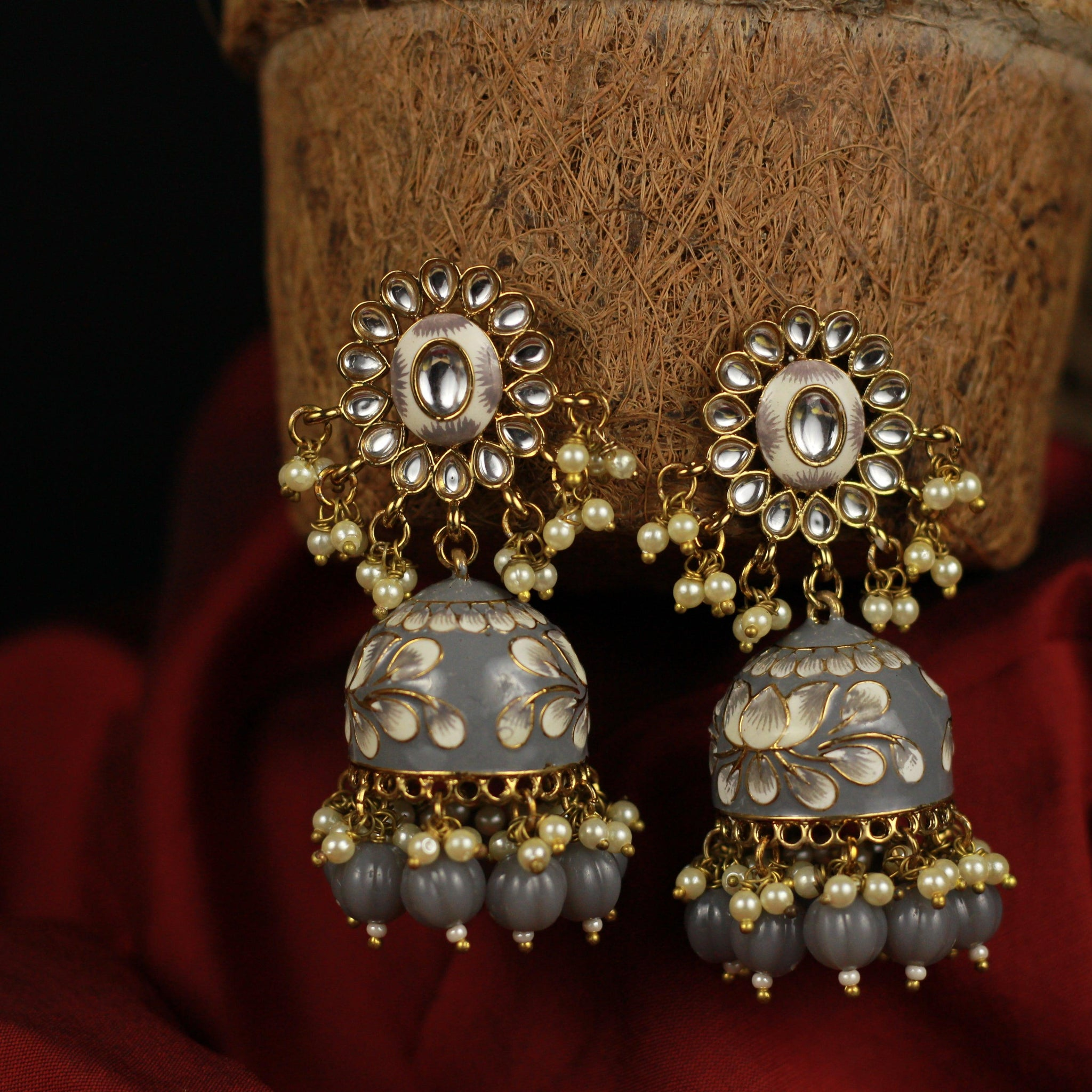 Beautiful Handpainted Floral Meenakari Kundan Top Jhumkas - Grey