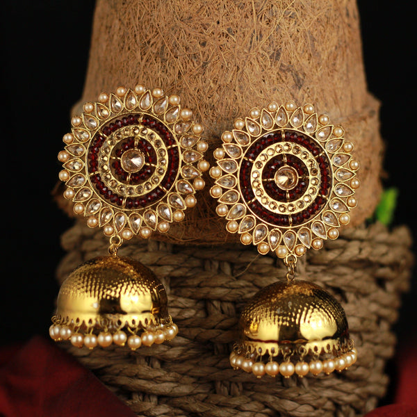 Big Chakri Long Bollywood Festive Oversized Jhumkas - Gold & Maroon